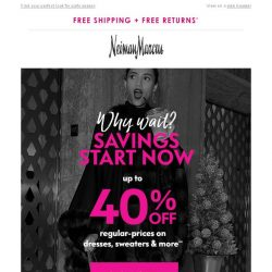 [Neiman Marcus] 40% off: Holiday-ready dresses & more sale