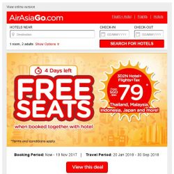 [AirAsiaGo] 🎉 FREE SEATS when booked together with hotel | Book Now! - 4 Days Left 🎉