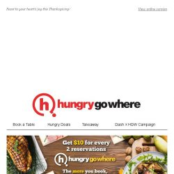 [HungryGoWhere] 50% off 2nd Diner, 3-Course Dinner for 4 @ $250++, & more Thanksgiving Specials!