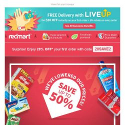 [Redmart] Up to 50% OFF + 20% Coupon Code.. Your weekend just got better!