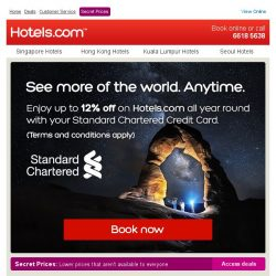 [Hotels.com] Enjoy up to 12% off all year round with a Standard Chartered Credit Card