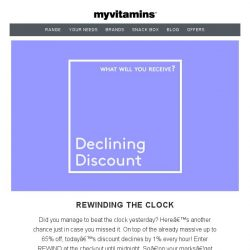 [MyVitamins] Rewinding the Clock // Save up to 65% + an EXTRA 15% off...