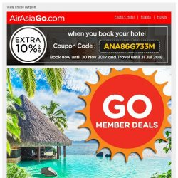 [AirAsiaGo] 💌 Congratulations! You qualify for 1/2 price hotel deals. [Coupon inside] 💌