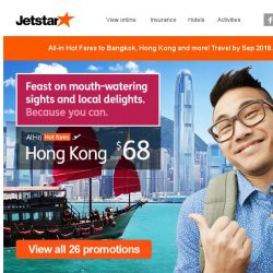 [Jetstar] Feast on mouth-watering sights and local delights in Hong Kong, Bangkok and more!