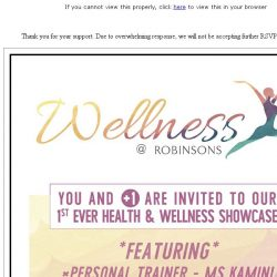 [Robinsons]  Seats fully reserved: Wellness at Robinsons
