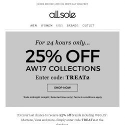 [Allsole] Tick tock...Your 25% off ends soon