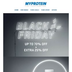 [MyProtein] ⚡ BLACK FRIDAY ⚡ Deal of the Day + Up to 70% Off!