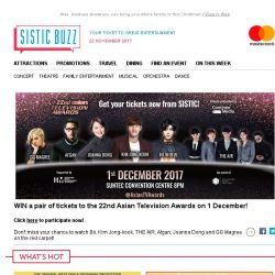 [SISTIC] WIN tickets to the 22nd Asian Television Awards!