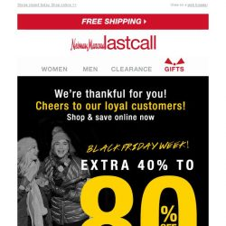 [Last Call] HAPPY THANKSGIVING! Extra 40%–80% off everything