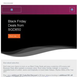 [Qatar] Exclusive Black Friday Deals from just SGD850. Ends Sunday.
