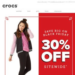[Crocs Singapore] Can't Stop, Won't Stop! 30% OFF Crocs' Black Friday Deals Are Here with Free Shipping!