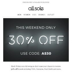 [Allsole] Kick start Black Friday with 30% off