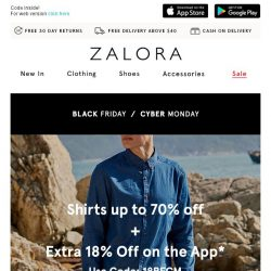 [Zalora] Shirts up to 70% off + EXTRA 18% off on the App!
