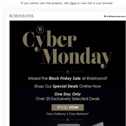 [Robinsons]  ⚠️ Cyber Monday Deals. UP TO 75% OFF ⚠️