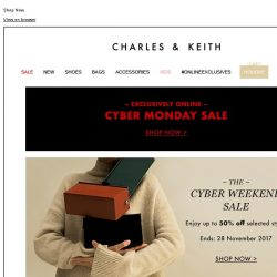 [Charles & Keith] CYBER MONDAY | Up to 50% off selected styles