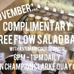 [Ramen Champion Singapore] From now till 30 November, enjoy complimentary FREE FLOW Salad bar with any main course order from 6 - 11pm daily