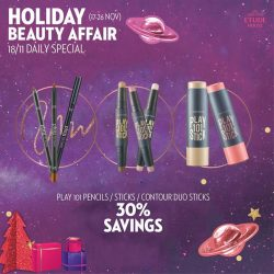 [Etude House Singapore] Be My Universe Holiday Beauty Affair 🔮- Daily Special Day 2 -Enjoy 30% Savings on any Play 101 Pencils, Sticks, Contour