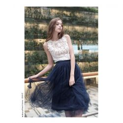 [MDSCollections] Tulle Skirt in Midnight | Online best sellers, sale item