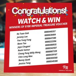 [Golden Village] A huge round of applause to our 10 lucky winners who has each won a $100 Imperial Treasure Dining Voucher!