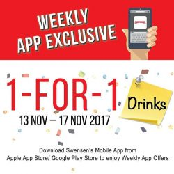 [Swensen's] Complete your meal with our 1 for 1 Drinks offer, valid from now till 17 Nov!