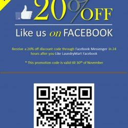 [LAUNDRYMART FETCH] Receive a 20% off discount code through Facebook Messenger in 24 hours after you Like LaundryMart Facebook.