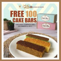 [Emicakes] Free cake bars (assorted flavours) to be given away on 6th December 2017 at Emicakes Toa Payoh from 12 noon