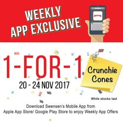 [Swensen's] Crunch your way through our 1 for 1 Crunchie Cones, available from now till 24 Nov!