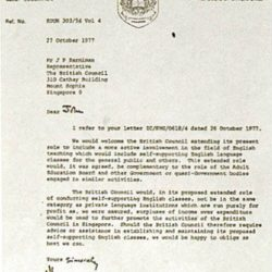 [British Council] This Day In History27 October, 1977 - The letter from Mr Hochstadt, Permanent Secretary at the Ministry of Education, to