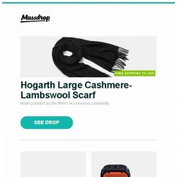 [Massdrop] Hogarth Large Cashmere-Lambswool Scarf, CRKT Deviation Tanto Blade Flipper, Corbett Waterproof Bluetooth Speakers and more...