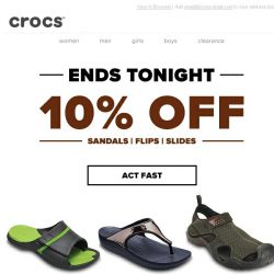 [Crocs Singapore] Ends tonight! Flips, sandals and slides for forever summer. Now 10% OFF