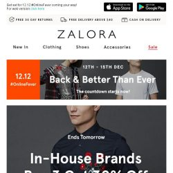[Zalora] Ends Tomorrow: Buy 3 get 30% off with our 12.12 early bird deal!