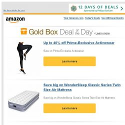 [Amazon] Up to 40% off Prime-Exclusive Activewear