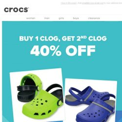 [Crocs Singapore] Double Up! Buy 1 Pair, Take 40% Off your second pair!