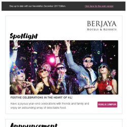 [Berjaya Hotels & Resorts EDm] Have a joyous festive celebrations with Berjaya Hotels and Resorts!