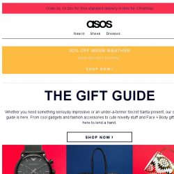 [ASOS] The Christmas gift guide | 30% off cold-weather buys