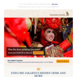 [Singapore Airlines] Exclusive promo code to fly to Jakarta from SGD118!