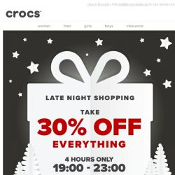 [Crocs Singapore] Coming soon: Crocs' 30% Off Late Night Event!
