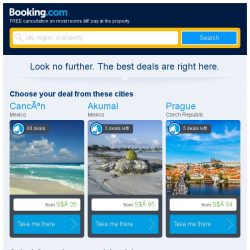 [Booking.com] Cancún, Akumal, or Prague? Get great deals, wherever you want to go