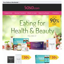 [SaSa ] 【Eating for Health and Beauty + Early XMAS Sale】Save Up to 90% OFF!