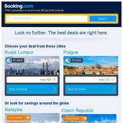 [Booking.com] Kuala Lumpur and Prague – great last-minute deals from S$ 18