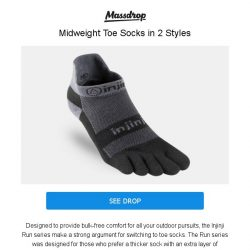 [Massdrop] Injinji Run Midweight Socks (3-Pack): Breathable & Cushioned for $29.99