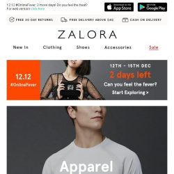[Zalora] Don't miss out: Up to 60% off apparel from our 12.12 teaser special!