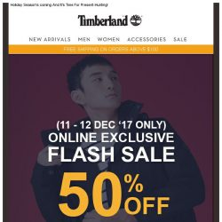 [Timberland] 12.12 Flash Sale. 50% off site wide. Online Exclusive