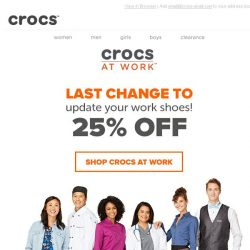 [Crocs Singapore] LAST CHANCE! Take 25% Off Crocs at Work Collection!