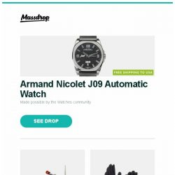 [Massdrop] Armand Nicolet J09 Automatic Watch, Hapstone V7 Knife-Sharpening Bundle, SealSkinz Dragon Eye Black & Camo Waterproof Gloves and more...