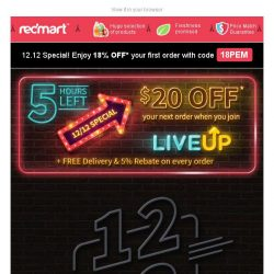 [Redmart] 12.12 SALE starts NOW! Up to 80% OFF + $20 OFF + 18% voucher code!