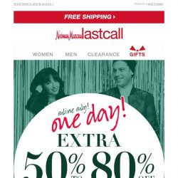 [Last Call] 1 DAY online only: extra 50%–80% off apparel for her & him + extra 40% off gifts
