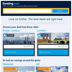 [Booking.com] Kuala Lumpur and London – great last-minute deals from S$ 18