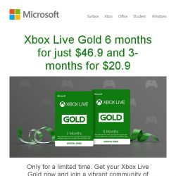 [Microsoft Store] Save up to 40% off on Xbox Live Gold. See more >