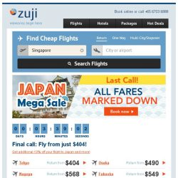 [Zuji] Last Call! Japan MEGA SALE: All Fares Marked Down + $135 instant discounts